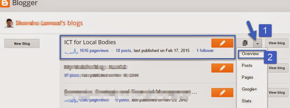 Blogger Dashboard to opt for the KMDB
