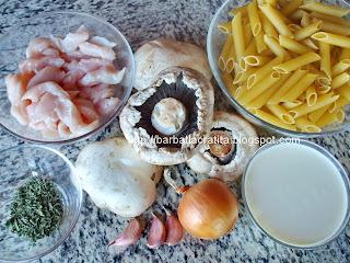 Paste cu pui si ciuperci ingrediente reteta