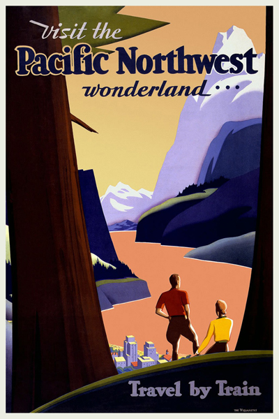 classic posters, free download, graphic design, new york, retro prints, travel, travel posters, vintage, vintage posters, Visit the Pacific Northwest Wonderland, Travel by Train - Vintage Train Travel Poster