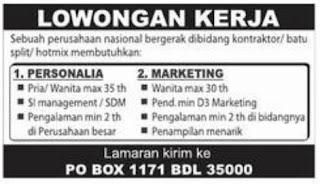 Lowongan Perusahaan Kontraktor Bandar Lampung September 2012