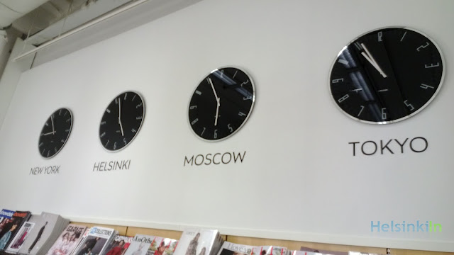 Stockmann showing the time in big cities around the world
