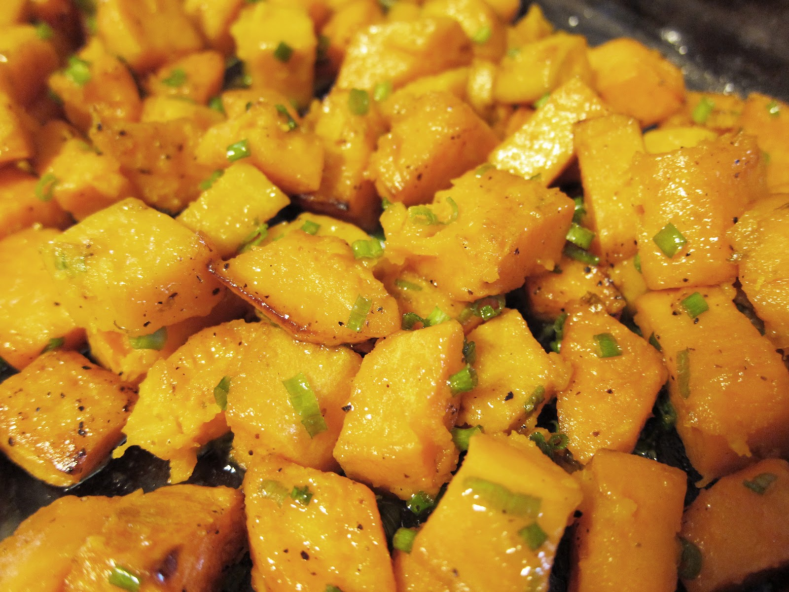 Roasted Sweet Potatoes with Lime Syrup and Chives