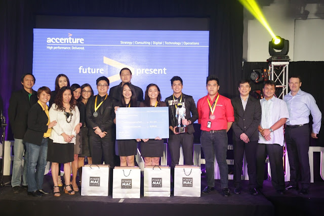 "Team Technosaur from the Pamantasan ng Lungsod ng Maynila (PLM), developer of the game app ""Modern Sweeper,"" is this year's Champion in the Games App Category of Program the Future: The Accenture Technology Campus Challenge 2015. Back row (from left to right): Chucky Castro, Platform Lead, Accenture in the Philippines; Louise Sabariaga, Country Marketing Lead, Accenture in the Philippines; Cydelle Rondaris, Dean, College of Engineering and Technology (CET), PLM; Ambe Tierro, Technology Lead, Accenture in the Philippines; and Donald Patrick Lim, Chief Digital Officer, ABS-CBN Broadcasting Corporation. Front row (from left to right): Charito Molina, Faculty, Computer Studies Department, PLM and Leisyl Ocampo, Chairperson, Department of Computer Studies, PLM; Team Technosaur members: Marco Francisco, Princess Joy Sicat, Fenella Mae Bagalayos and John Paulo Santiago; Alvine Aurelio, Team Coach, Accenture Technology in the Philippines; JP Palpallatoc, Digital Lead, Accenture in the Philippines; Atty. Crisanto Saruca, Jr., Officer in Charge, Metro Manila Development Authority's Traffic Discipline Office; and Jesper Madsen, Country Human Resources Lead, Accenture in the Philippines. Photo taken by Thaddy Boniquit, Accenture Photographers Club."