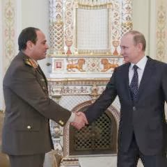Egyptian army chief Abdel Fattah al-Sisi (left) shakes hands with Russian President Vladimir Putin during their meeting in Novo-Ogaryovo residence, outside Moscow, on 13 February 2014 (AFP Photo)