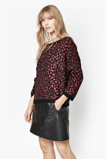 red metallic jumper, french connection leopard jumper,
