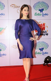 Actress Tamannaah Latest Pictures in Silk Short Dress at Memu Saitam Dinner with Stars Red Carpet  25)