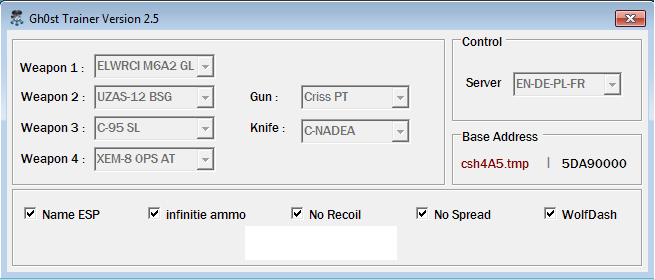 cYgRFV1 Wolfteam Aeria EN Trainer V2.5 Weapon Name ESP Wolf Dash no Recoil