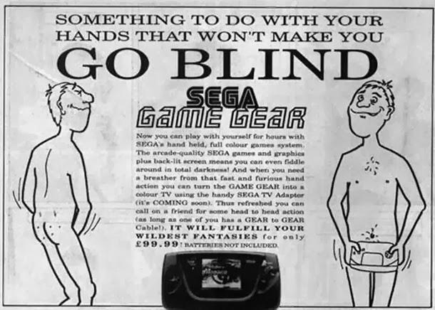 Anúncio do Game Gear (Sega) ligando a masturbação masculina