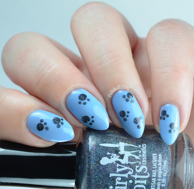 Paw Print nail art featuring Girly Bits Cosmetics On Toast! and Bohemian Polish Here I Go