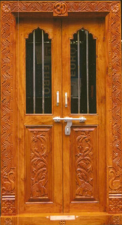 Latest pooja room door designs 2013 wood design ideas for Door design india