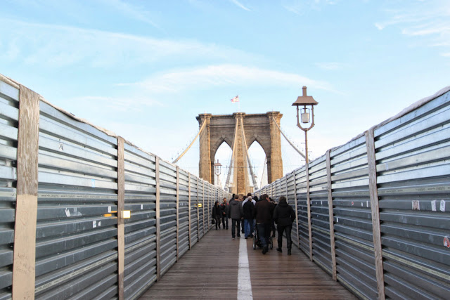 The view of Brooklyn Bridge from the pedestrian walkway in New York, USA