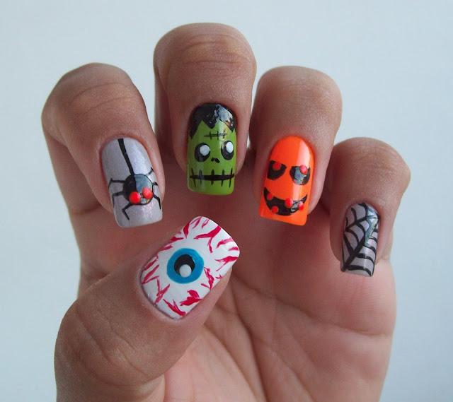 Unhas especial de Halloween: Olho Macabro, Aranha, Frankenstein, Abobora e Teia de Aranha