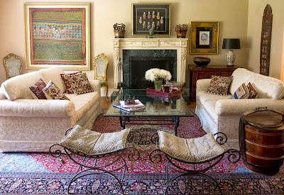 overview of a classic living room with antique accessories