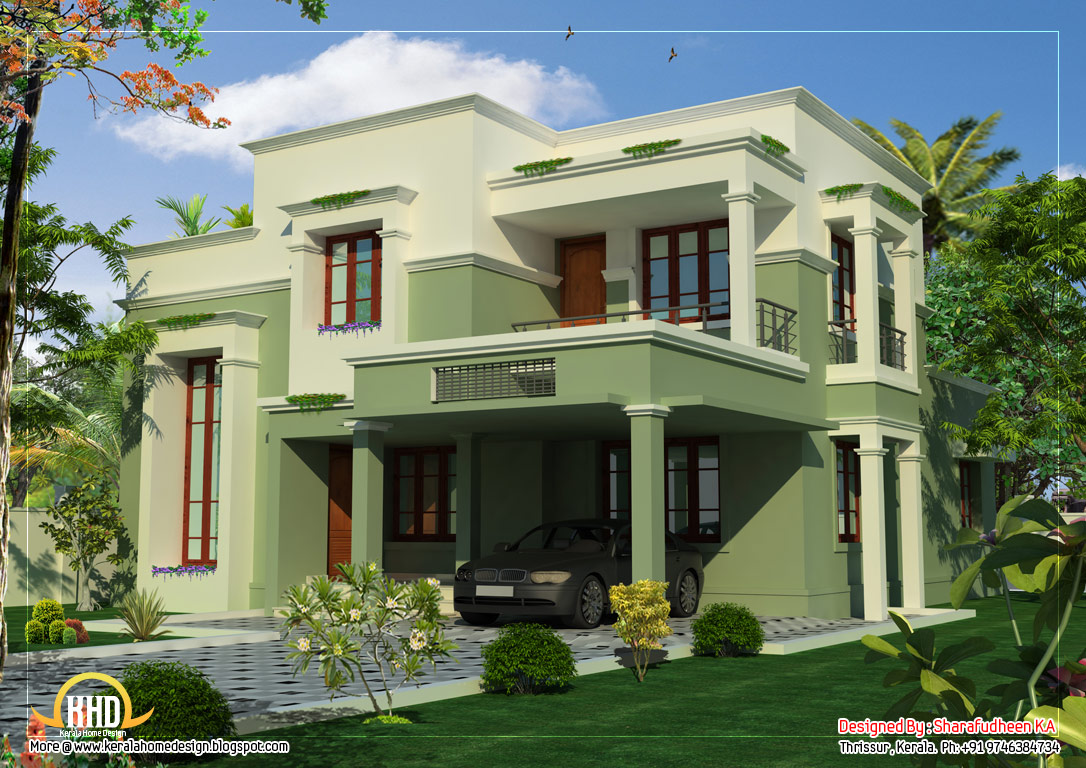 March 2012 kerala home design and floor plans for Exterior design of 2 storey house