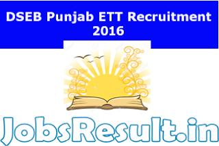 DSEB Punjab ETT Recruitment 2016