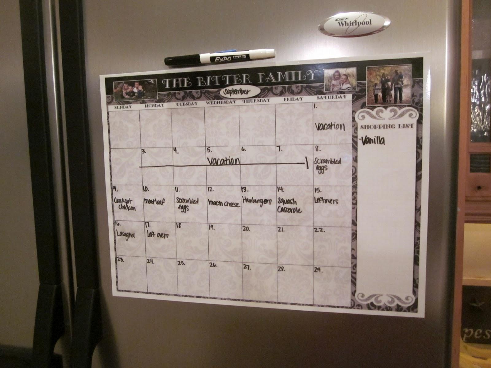 Kitchen Magnet Calendar.