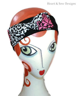 heartandsowdesigns retro black and white headband pink print bow