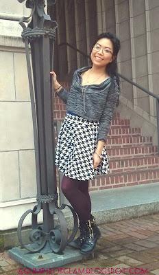 OOTD houndstooth circle skirt