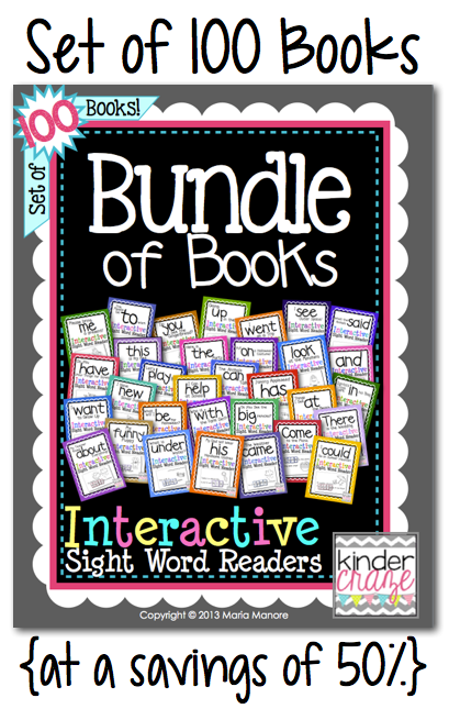 Interactive Sight Word Readers Bundle of Books from Kinder-Craze