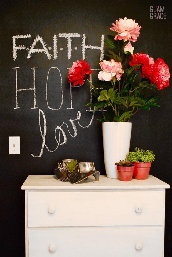Chalkboard wall - faith hope love