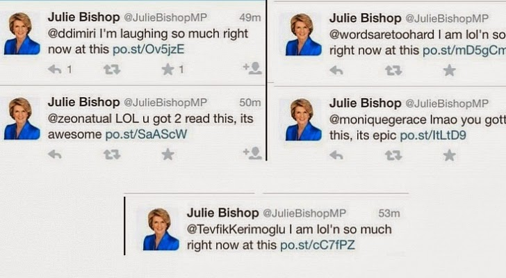 Lots of Twitter accounts hacked on weekends, Australian Minister Julie Bishop is one of them
