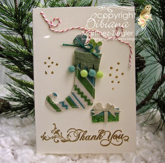 thank you note with stocking stickers front