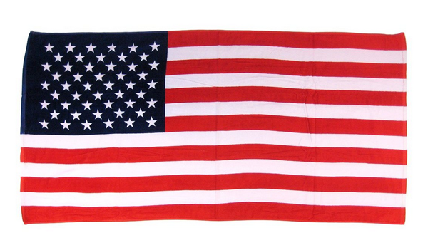 Beach towel USA Flag on www.designandfashionrecipes.com by Cristina Dal Monte