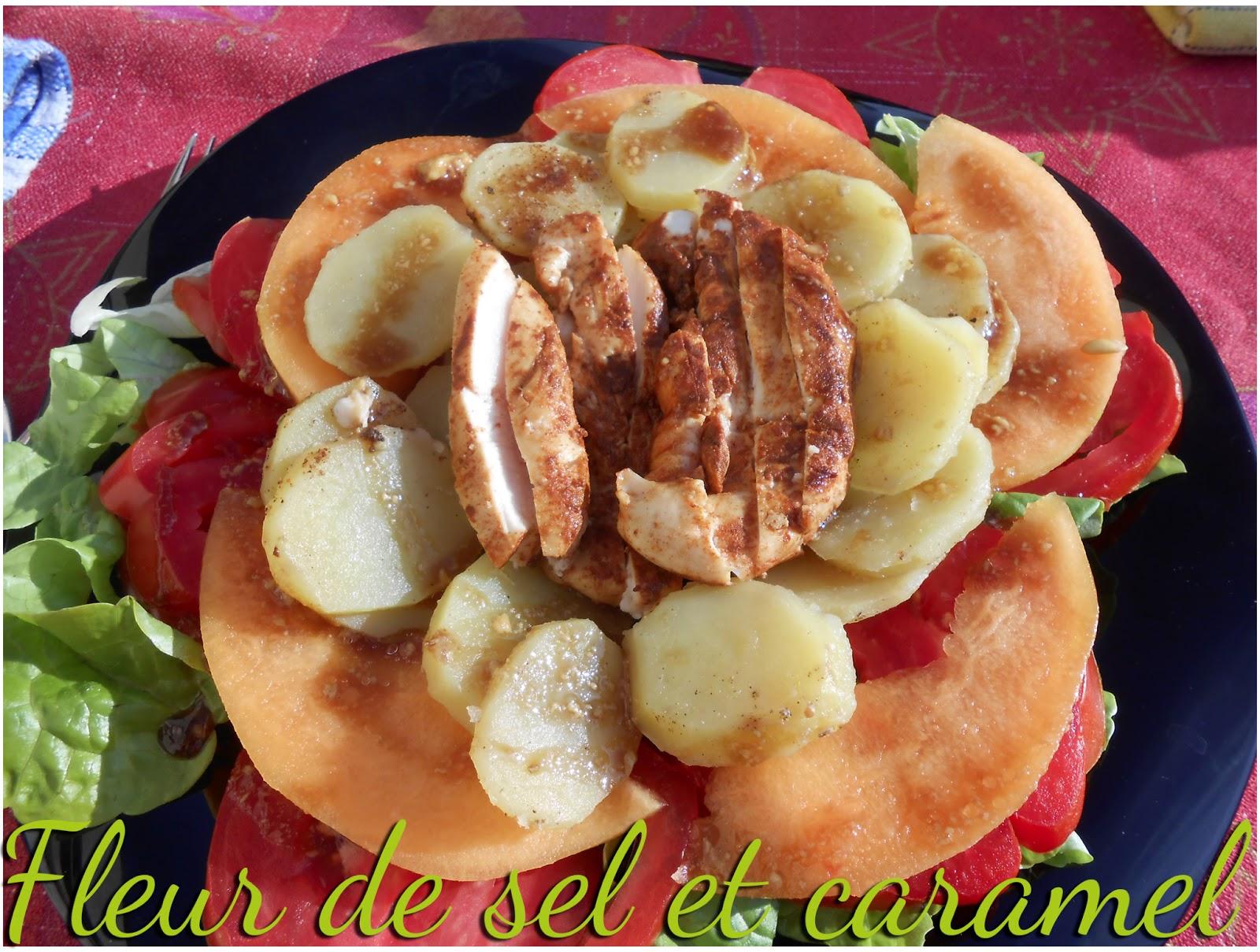 Salade soleil  (de poulet paprika et pommes de terre, sauce moutarde au miel)