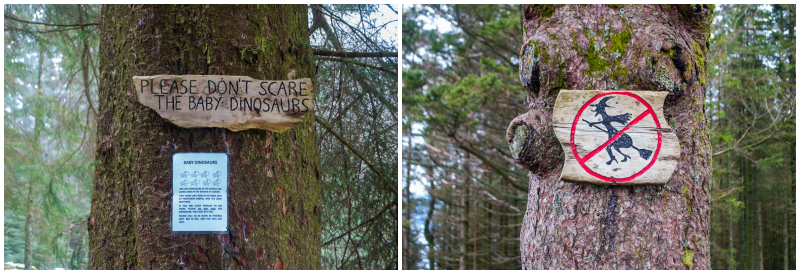 wooden sign boards and warning signs on mount floyen in bergen norway
