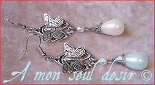 Boucles d'oreilles elfique papillon féerique elfe fée perles nacrées mariage wedding elf fairy elven butterflies earrings