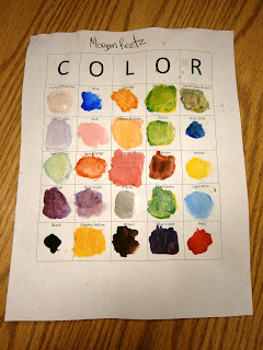 Color Mixing Bingo Card as made by a student