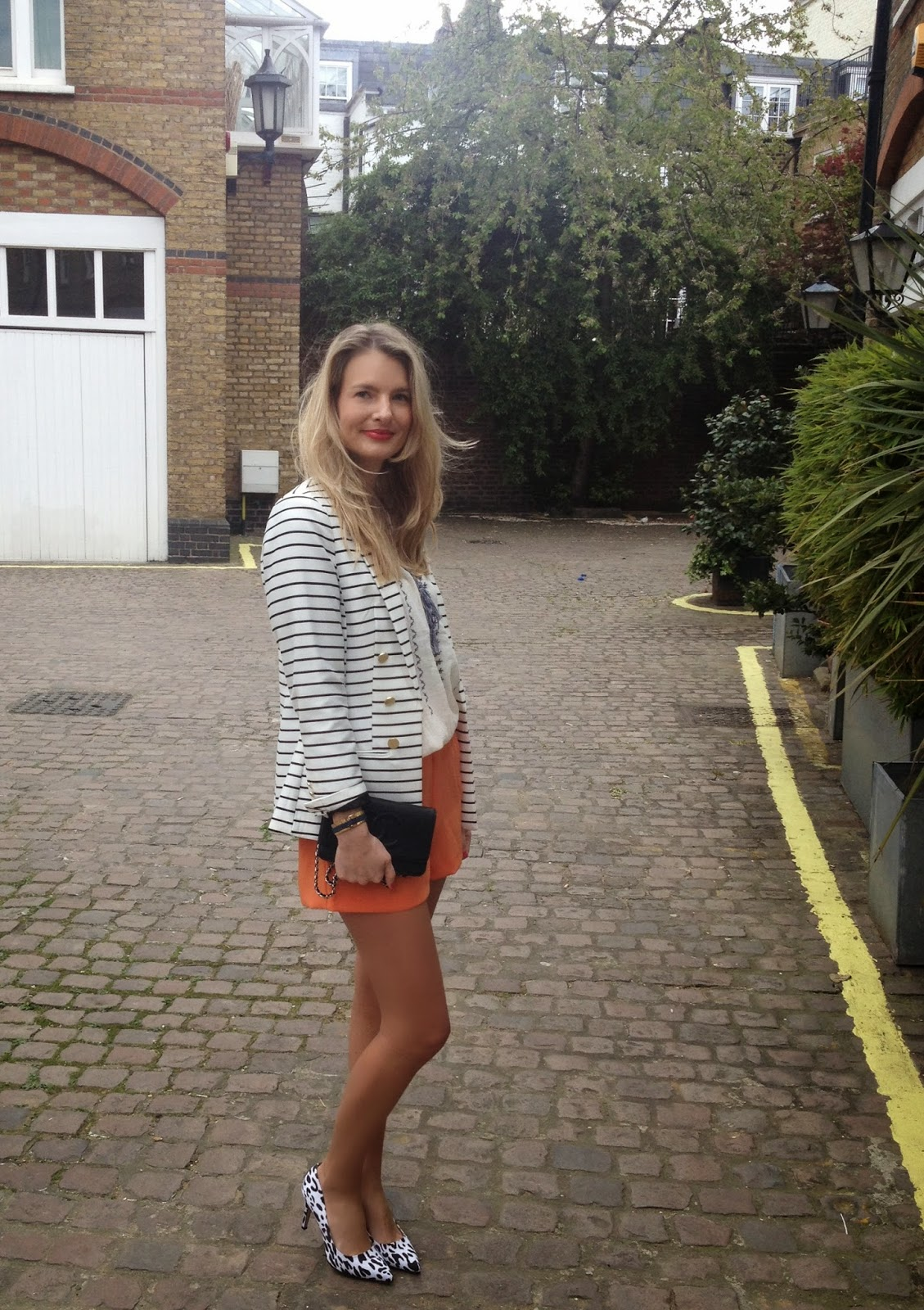Striped blazer, h&m blazer, stripes and leopard print, orange shorts, shorts, look book, summer lookbook