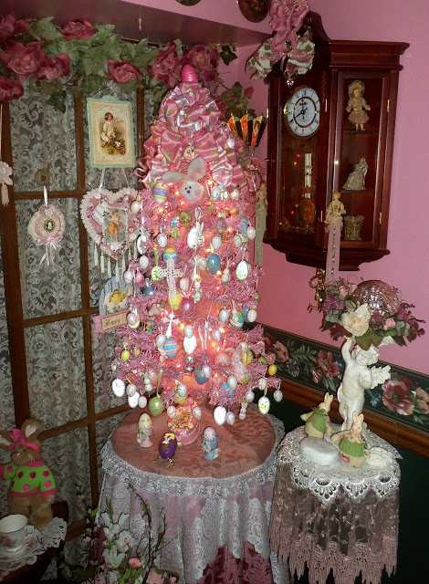 Pink Easter Tree and Vignettes in the Dining Room, 2018