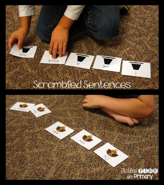Scramble Sentences | Thanksgiving Literacy and Math