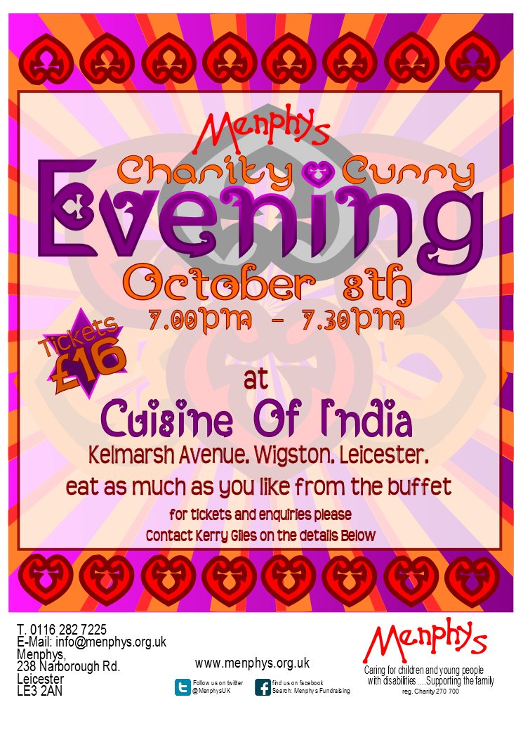 Curry evening poster menphys for Cuisine of india wigston