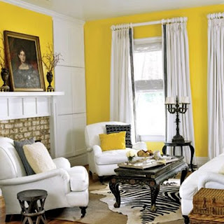 White horse lounge yellow room interiors spring time and easter - Black and yellow living room ...