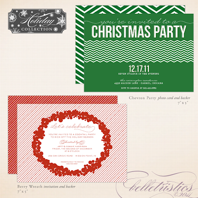 printable diy holiday new year's christmas party invitation gathering soiree chevron berry wreath modern unique custom personalized