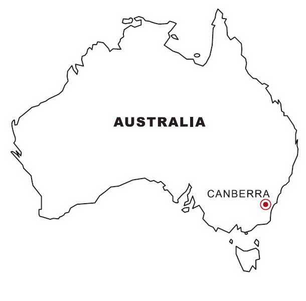 COLOREA TUS DIBUJOS: Mapa de Australia para colorear