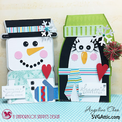 SVG Attic: Snowman and Penguin cards with Angeline #svgattic #scrappyscrappy #christmas #snowman #penguin #winter #card