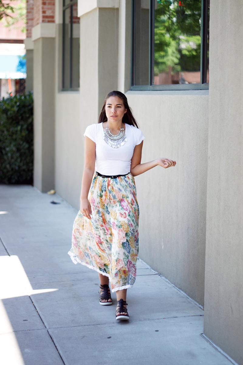 floral bohemian maxi skirt
