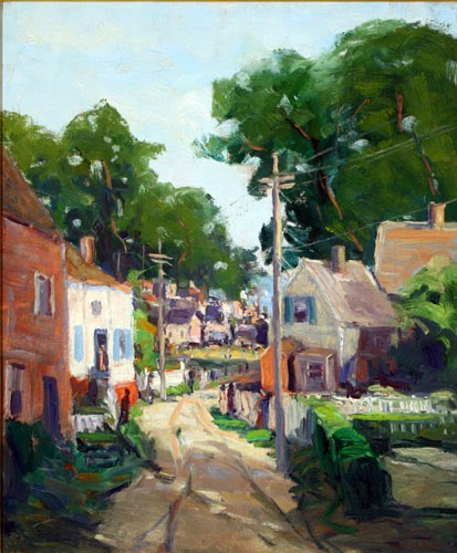 """Up Commercial Street-Provincetown"" oil on linen, 30"" x 36"" by Maurice King Burns (1895-1934)"