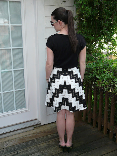 black and white chevron lace skirt