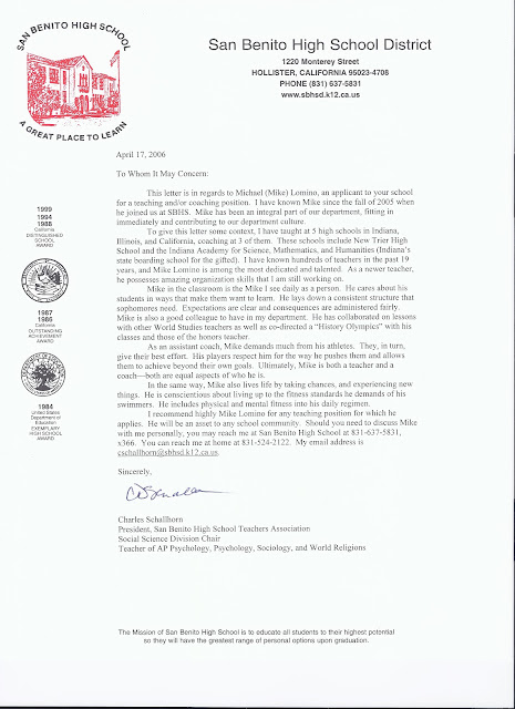 mr  lomino  letter of recommendation - hollister california