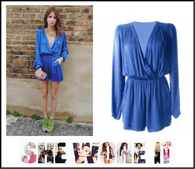Accessorize Multi-Coloured, Clutch Bag, Colbalt Blue, Gold Beaded, In love with Fashion, Long Sleeve, Made In Chelsea, MIC, Millie Mackintosh, Necklace, New Look, Playsuit Deep V-Neck, Wrap,