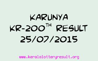 Karunya KR 200 Lottery Result 25-7-2015