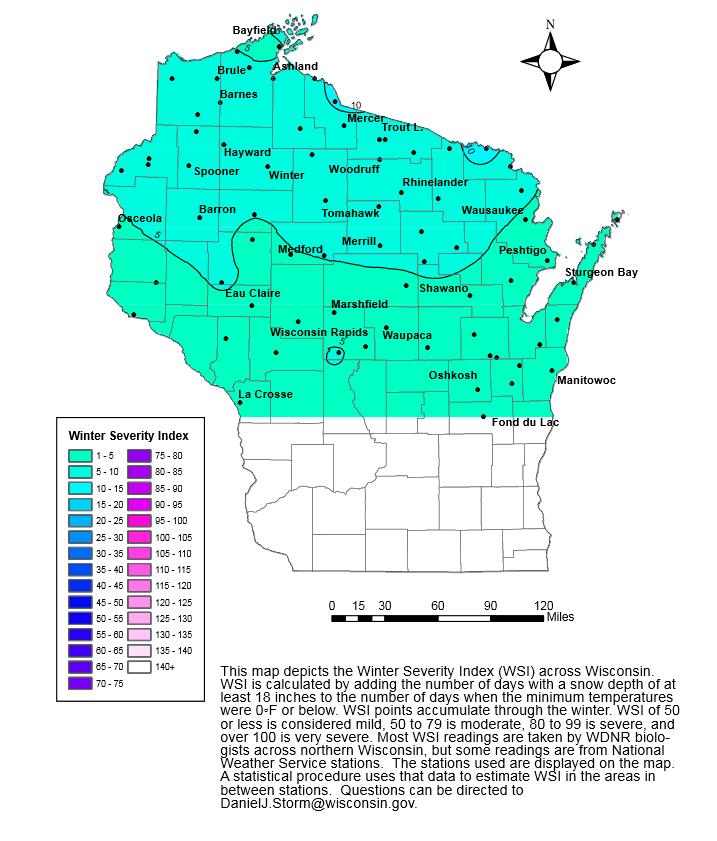 Wisconsin Deer Hunting: Winter Severity Index