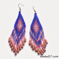 Сиренево-розовые серьги из бисера - 170 / 365