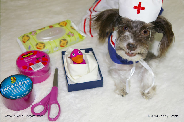 Image of Nurse Pixel next to Pinkie Duckie just before surgery to fix her broken wing