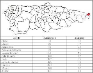mapa de Ribadedeva
