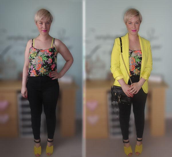 Neon Blazer, Neon Floral Cami, Office Shoes, Topshop Joni Jeans